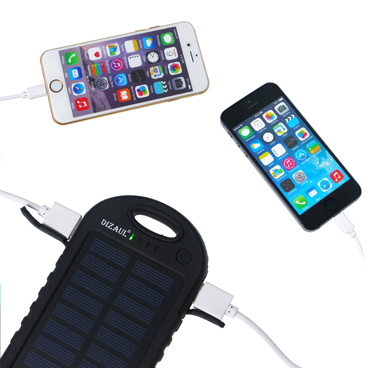 Amazon.com: Solar Charger, Dizaul 5000mAh Portable Solar Power Bank  Waterproof/Shockproof/Dustproof Dual USB Battery Bank for Cell Phone,  Samsung, ...