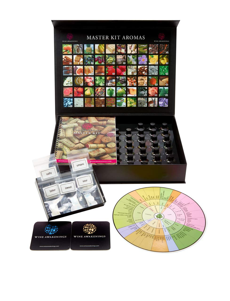 Wine Aroma Kit- Master Kit 60 Wine Aromas Magnum Edition. 50 page Reference Manual, Taste Discs, Anne Noble Wine Tasting Wheel. The most prevalent aromas from all varietals. Guaranteed for 10 years!