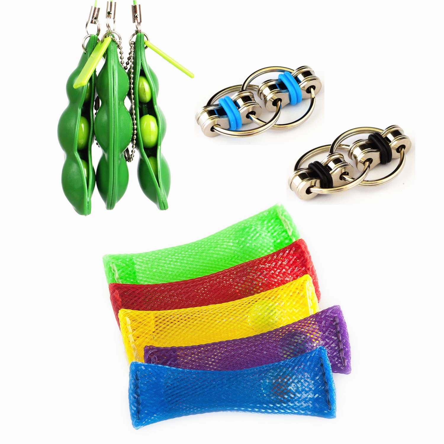 Sensory Decompression Fidget Toys Sets (10 Pieces) Mesh Marble, Flippy Chain, Squeeze-a-Bean Soybean Keychain for Kids Adults Relieve Stress Increase Focus ADHD ADD Autism Anxiety Relief Toys (B)