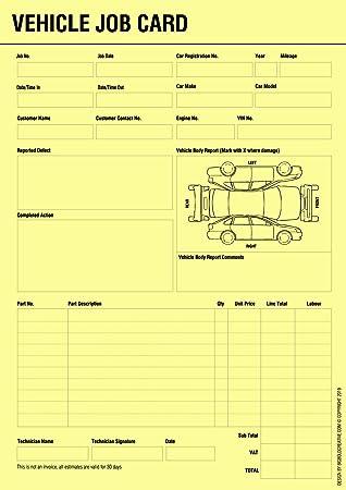 Bigbold Creative Vehicle Service Repair Job Work Card Record Sheet