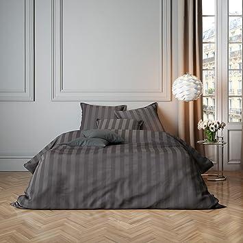 G Bettwarenshop Uni Mako Satin Streifen Bettwäsche Grau Kissenbezug