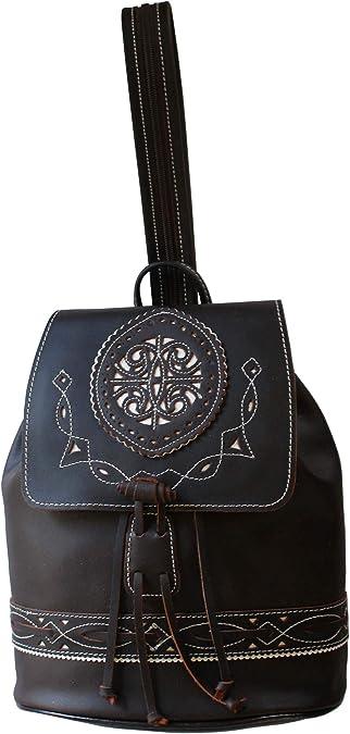 Funrey Bolso mochila de piel de Ubrique, Hecha en España 100%, mide: 24 x 13 x 30 cms.: Amazon.es: Zapatos y complementos