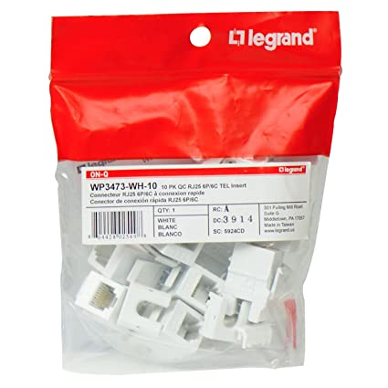 legrand - on-q wp3473wh10 contractor quick connect rj25 6-position  6-conductor telephone keystone insert, 10 pack, white - - amazon com