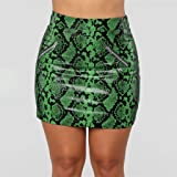 Ladies Sexy Leather Mini Skirt Snake Zipper