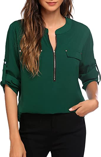 Deep V neck top  wrap top  wrap blouse  tops for women  long sleeve top  mood blouse  V neck blouse