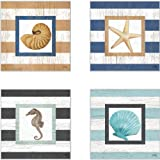 CoasterStone AS10076 Beach Life on Stripes Absorbent Coasters, 4-1/4-Inch, Set of 4