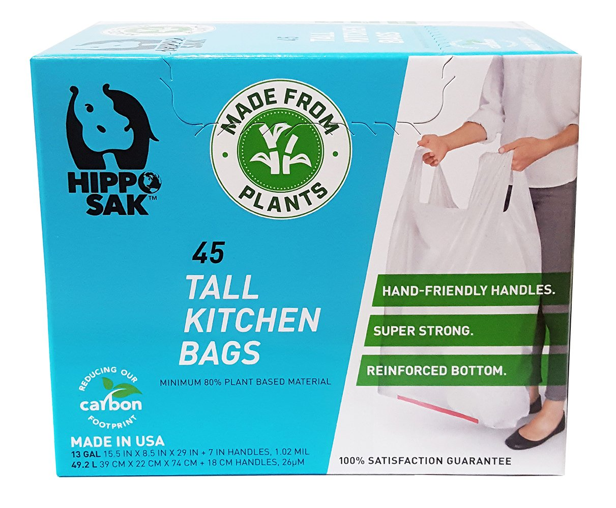 Plant Based - Hippo Sak Tall Kitchen Bags with Handles, 13 Gallon (45 Count) by Hippo Sak