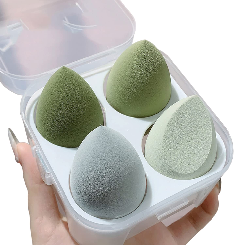 4 Pack Premium Makeup Sponge Egg, Latex-Free Makeup Puff Beauty Foundation Blend Sponge, Wet and Dry Multifunctional Professional Makeup Tools (Green)