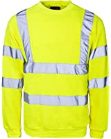 New Hi High Viz Crew Neck Sweatshirt Top Jumper Warm Work EN471 Reflective Tape Safety Suitable For Work Leisure Workwear Walking Comfortable Casual Warm YELLOW S,M,L,XL,XXL,3XL,4XL