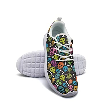 19ac63986ebf Colorful Skulls Bones Art Print mesh lightweight shoes for women lace up  sports baseball Sneakers shoes
