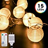 Lantern String Lights, DecorNova 10 Feet 15 LEDs Chinese Oriental Style Nylon Ball String Lights with Remote & UL Power Adapter for Christmas Fireplace Wedding Bedroom, Warm White