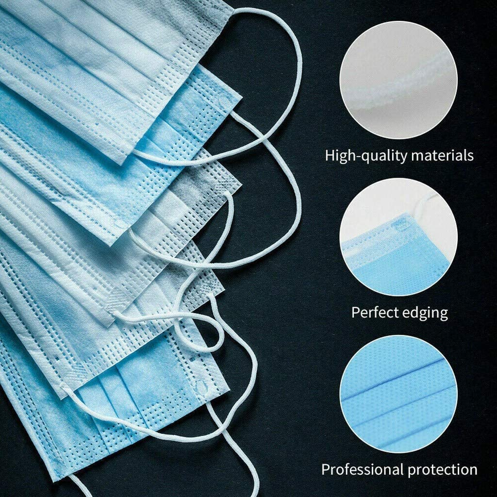 100pcs Not Individual Packaged 50Pcs Disposable Face Guard Scarf with 3 Layer Filter with Elastic Earloop,Black//Gray Breathable Safety Face Scarfs Individual Packaged