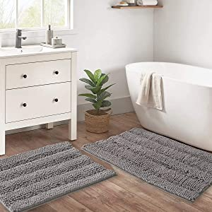 RYB HOME Bath Mat Non Slip - 2 Pieces Ultra-Absorbent Bath Rugs for Bathroom for Bedroom Shower Kitchen Entryway Bedroom Floor Pets Puppy, Light Gray, W20 x L32 + W17 x L24 inch