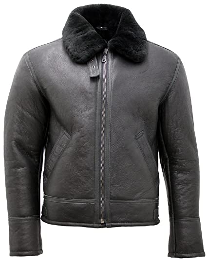 b6384b7996a Men's Black 'Air Force' Real Shearling Sheepskin Fur Flying Leather Jacket  XS
