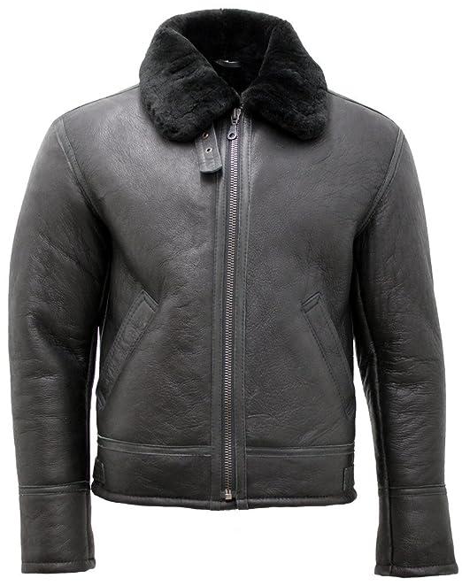 Chaqueta de piel de piel de oveja de Shearling de cuero negro para hombre: Amazon.es: Ropa y accesorios