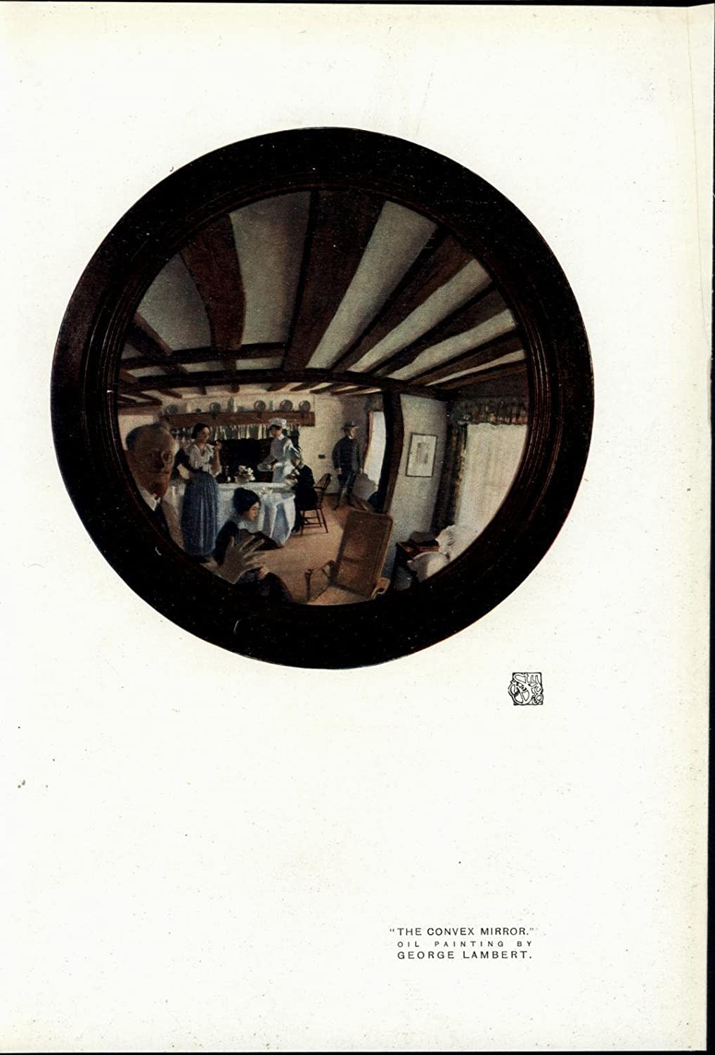 The Convex Mirror Reflection Of Dining Room Nice 1919 Vintage Color Art Print Entertainment Collectibles