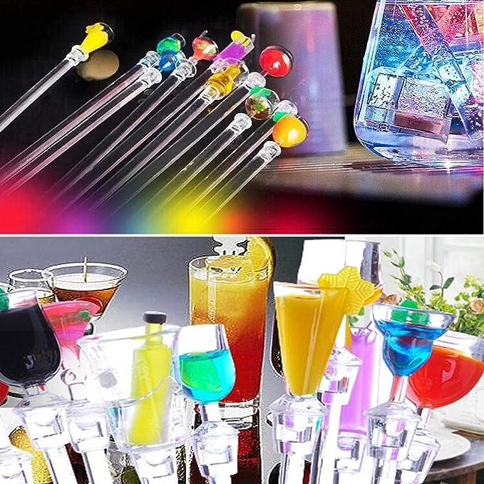 Velidy Colorful Acrylic Cocktail Long Drink Stirrer Swizzle Spoon Sticks for Tropical Aloha Hawaiian Luau Tiki Beach Bar Party