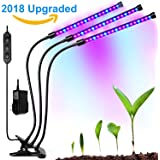 TaoSky Three Head Grow Light 54LEDs Clip on LED Plant Grow Lamp with Flexible 360 Degree Gooseneck and Three Separate Control Switches for Indoor Plants Hydroponics Greenhouse Organic Office Home