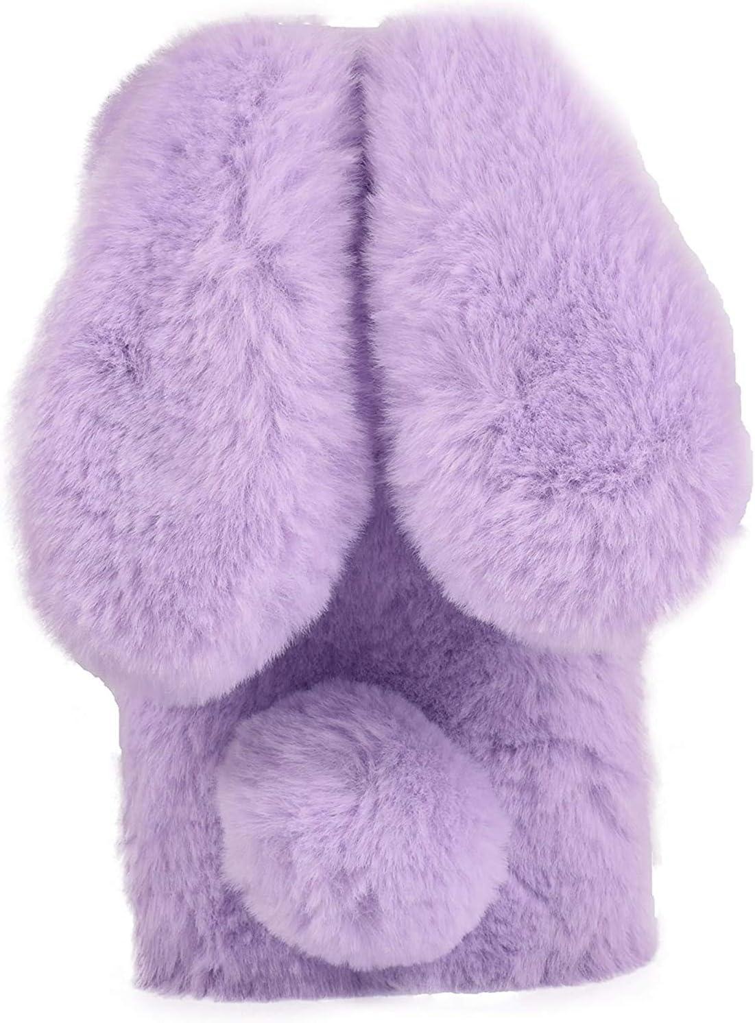 Caja del teléfono de conejo para Samsung Galaxy J310 Funda Protectora de Piel Suave y Esponjosa Caja del Teléfono Peluda Difusa con Bolas Suave Mullido Caso Estuches para Samsung J3,Púrpura