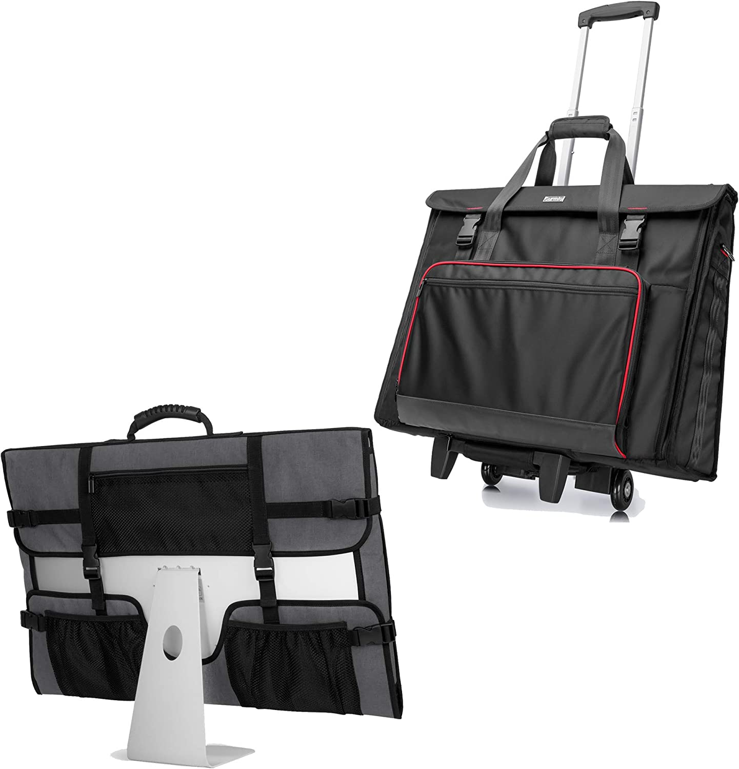 CURMIO Tote Bag with Rubber Handle, Rolling Carrying Bag with Wheels Compatible with Apple iMac 27 inch Desktop Computer, Black, Patented Design