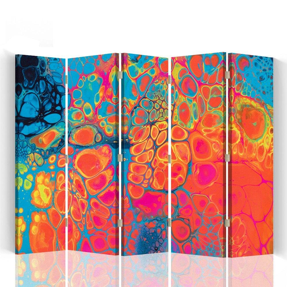 Feeby – Biombo – Biombo decoratiovos – Decoration Cuarto – Elementos Decorativos Salon – Biombo - a Doble Cara - de 5 Piezas - 180x150 cm - Mayuko Miura - Abstracción De Color Anaranjado Azul Rosa