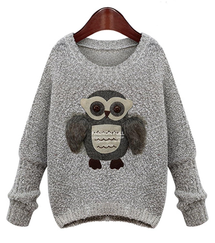 HEYFAIR Women's Creative Owl Pattern Knitted Pullover Sweater Jumper