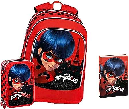 Schoolpack - Mochila escolar Miraculous Ladybug redonda organizada + estuche triple completo + diario Ladybug rojo con purpurina 12 meses: Amazon.es: Equipaje