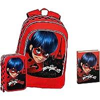 Schoolpack - Mochila escolar Miraculous Ladybug redonda organizada + estuche triple completo + diario Ladybug rojo con…