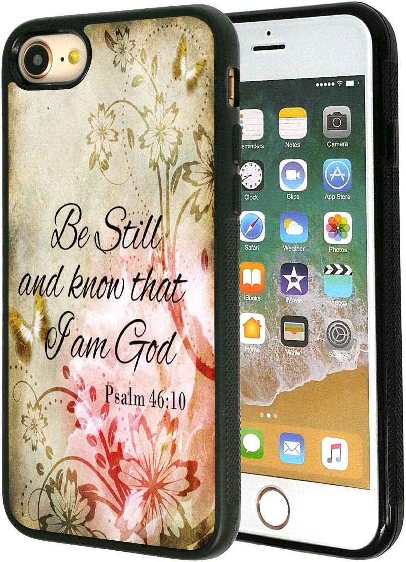 """iPhone 7 Case,Vobber Slim Anti-Scratch Architecture TPU Shockproof Protective Case Cover for iPhone 7 4.7""""-Bible Verse Psalm 46:10(Be Still and Know That I am God) Pink Flower"""