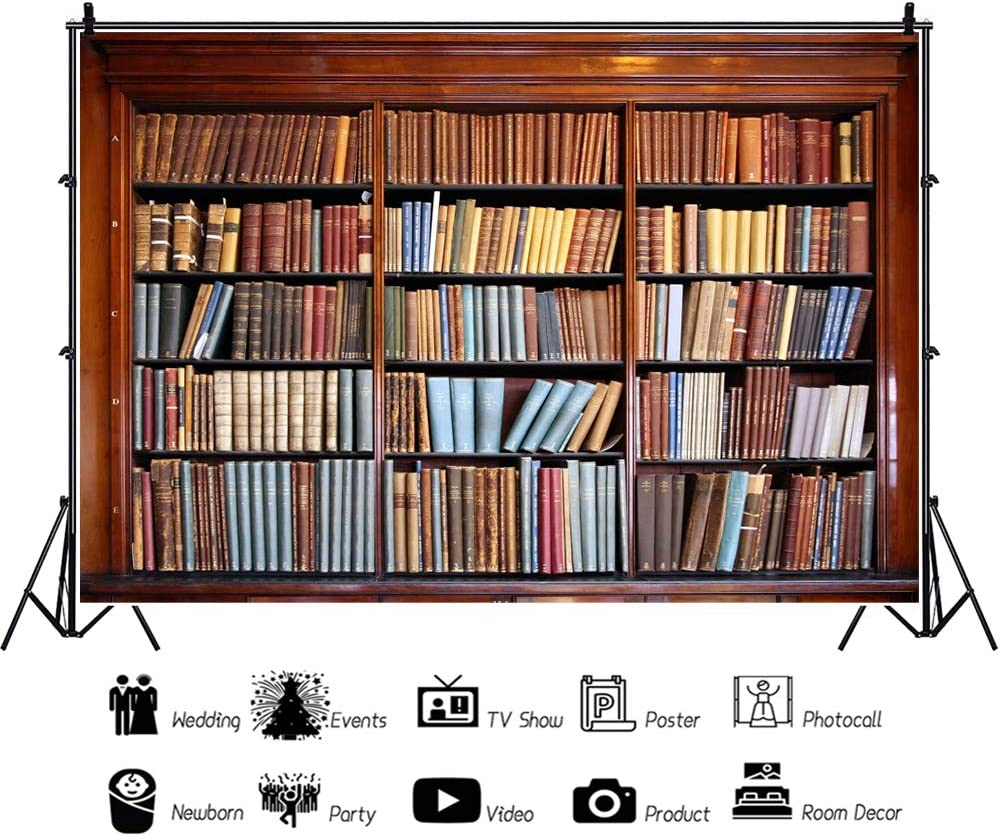 Haoyiyi 6x8ft Bookshelf Bookcase Backdrop School Library Study Book Books Background Photography Photo Adults Students Business Hall Reading Room Saloon Artistic Decor Supplies Portrait