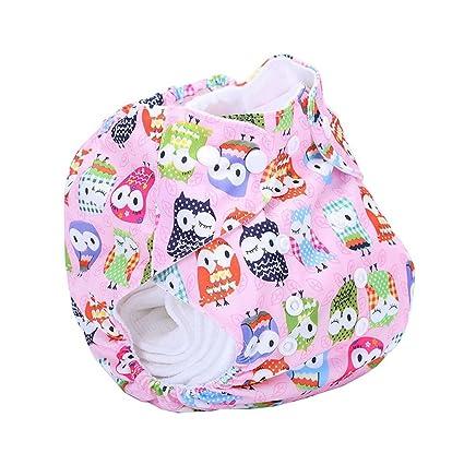 Búho Impreso TPU resistente al agua lavable bebé niña bolsa para pañales, color rosa