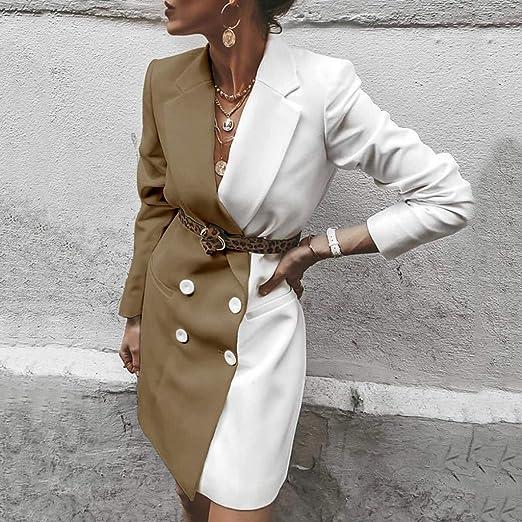 S, Blanco Blazer Chaquetas Elegante Mujer SUNNSEAN Abrigos de Bicolor con Cintur/ón Manga Larga Elegante Chaquetas de Blazer de Solapa Abrigos Largos con Botones Slim C/árdigan de Moda Chaquetas
