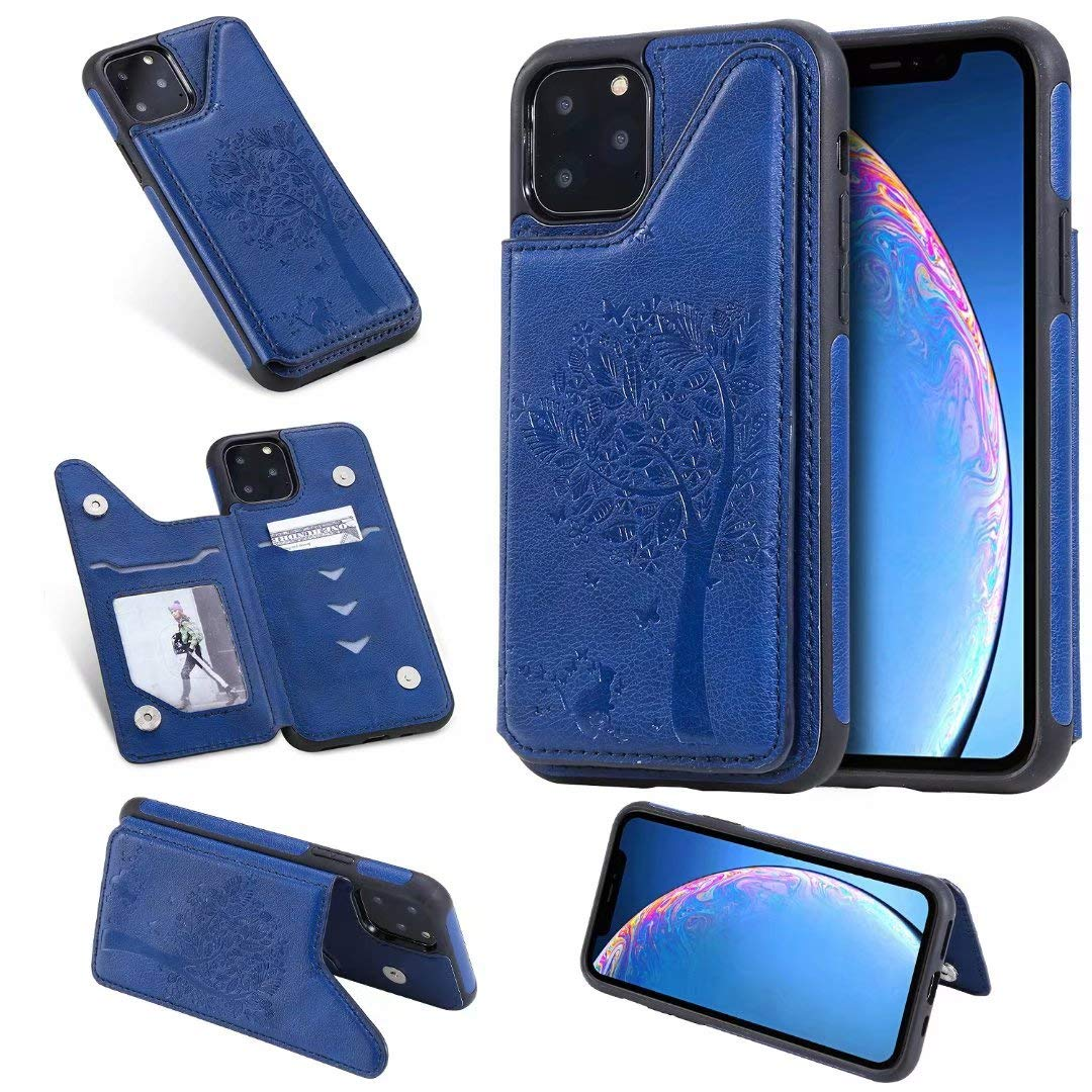 DAMONDY Wallet Case for iPhone 11 2019,Emboss Tree Cat Slim Protective Case with Credit Card Slot Holder Flip Folio Soft PU Leather Magnetic Closure Cover Case for iPhone 11 6.1 Inch-Blue by DAMONDY