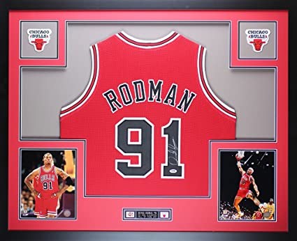 58471ea7f ... shopping dennis rodman autographed red chicago bulls jersey beautifully  matted and framed hand signed by af957