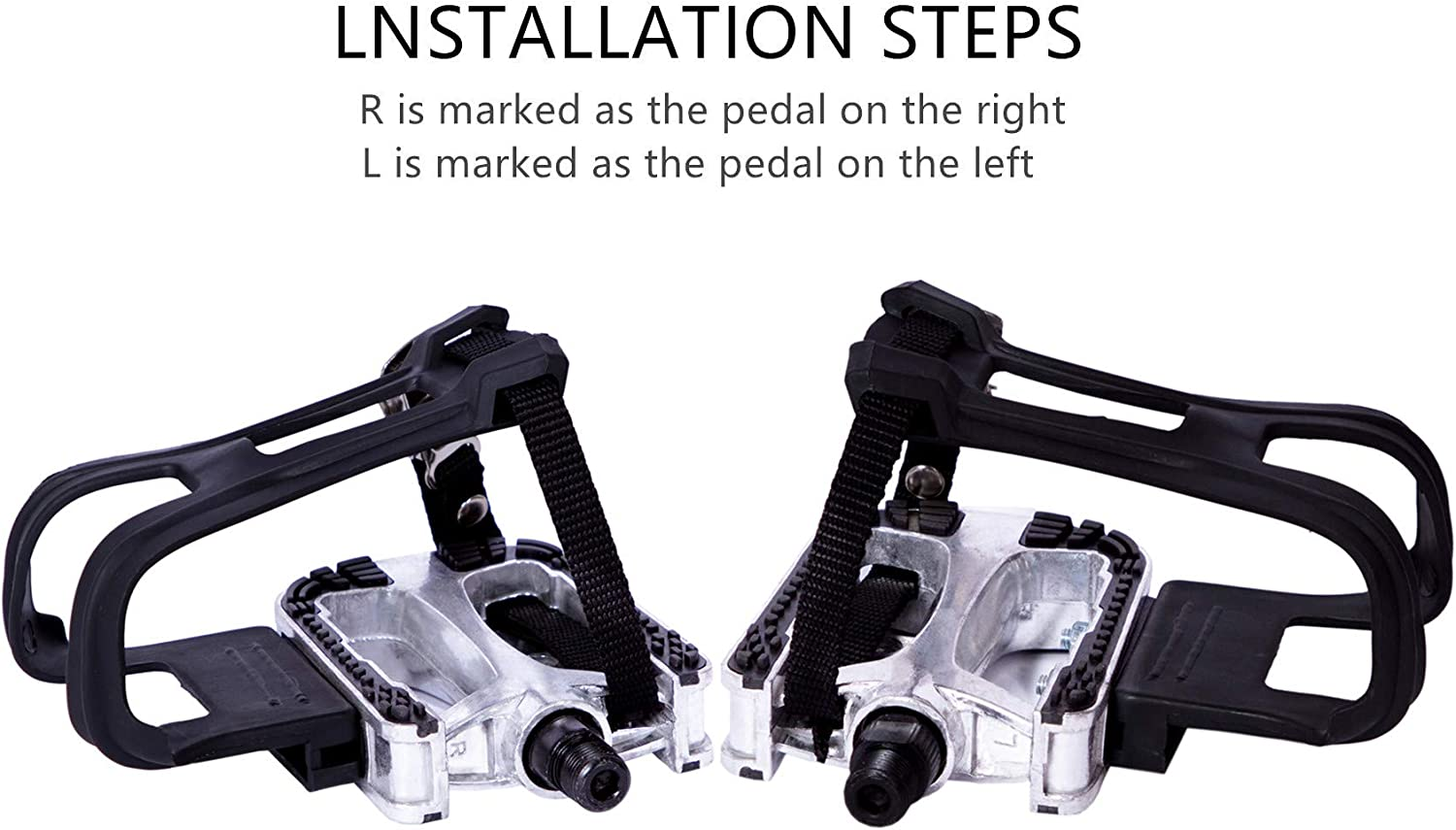Spin Bike And outdoor bicycles 9//16-Inch Spindle Resin//Alloy Bicycle Pedals for Exercise Bike COZYROOMY Bike Pedals with Clips and Straps Half year warranty