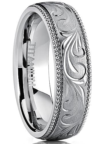 Mens Womens Hand Engraved Vintage Titanium Wedding Band Unisex Milgrain Ring Comfort Fit 6mm