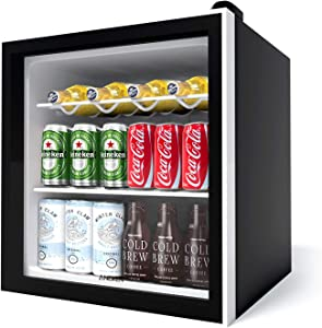 Aneken Beverage Refrigerator, 17 Inch Wide 62 Cans Beverage Cooler with Double-Layered Glass Door for Soda, Water, Beer, or Wine, Compact Mini Fridge Removable for Home, Office or Bar, 1.6cu.ft.