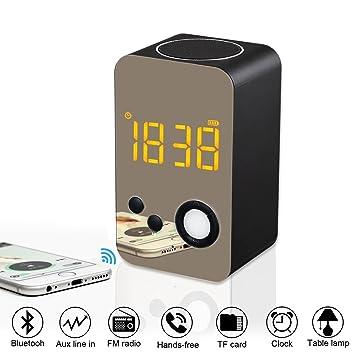 TYXQ Radio Reloj Despertador,Altavoz Bluetooth Inálambrico, Radio FM Digital,luz LED,