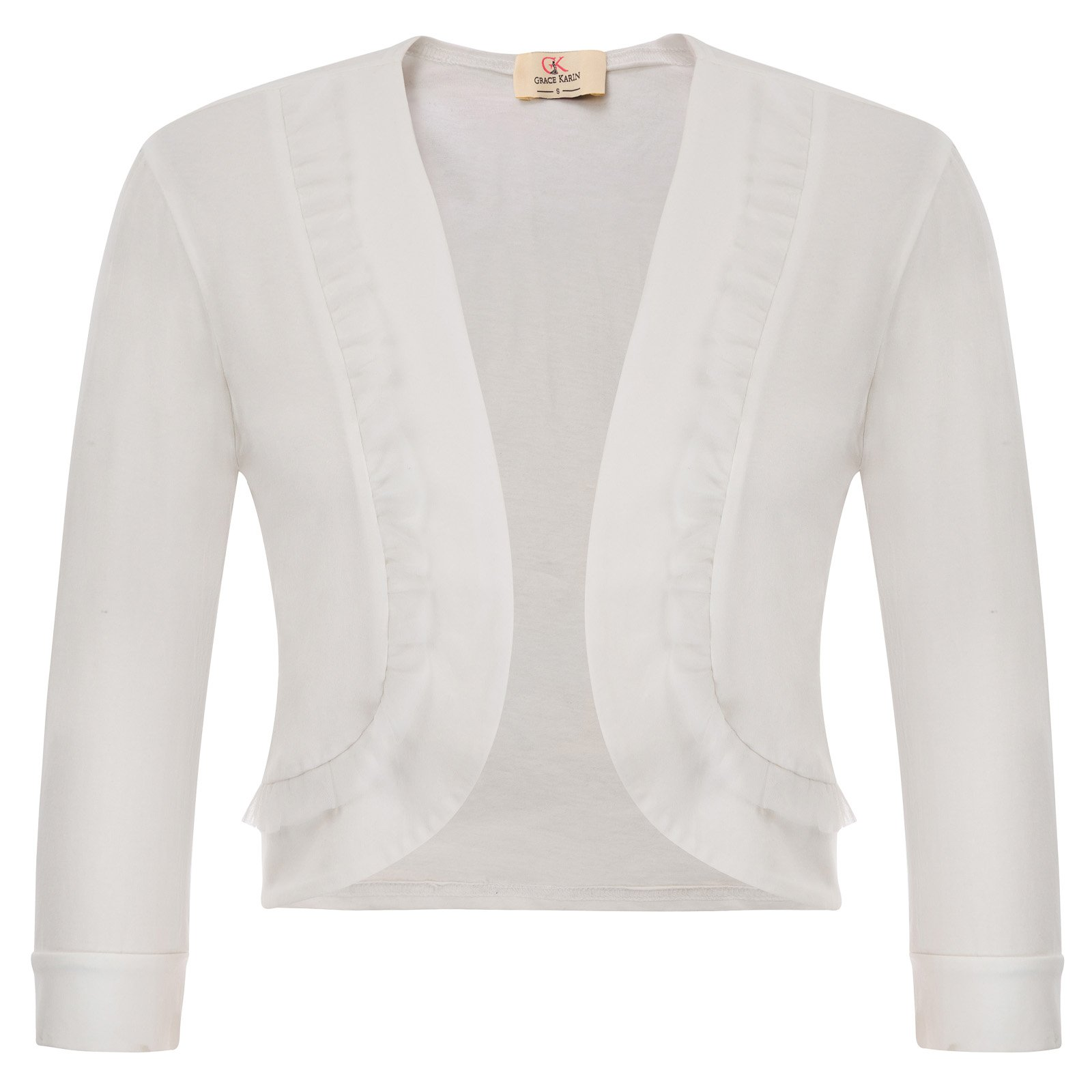 GRACE KARIN 1950s Vintage 3/4 Sleeve Crop Cardigan with Lace Ruffle (XL,Ivory 772)