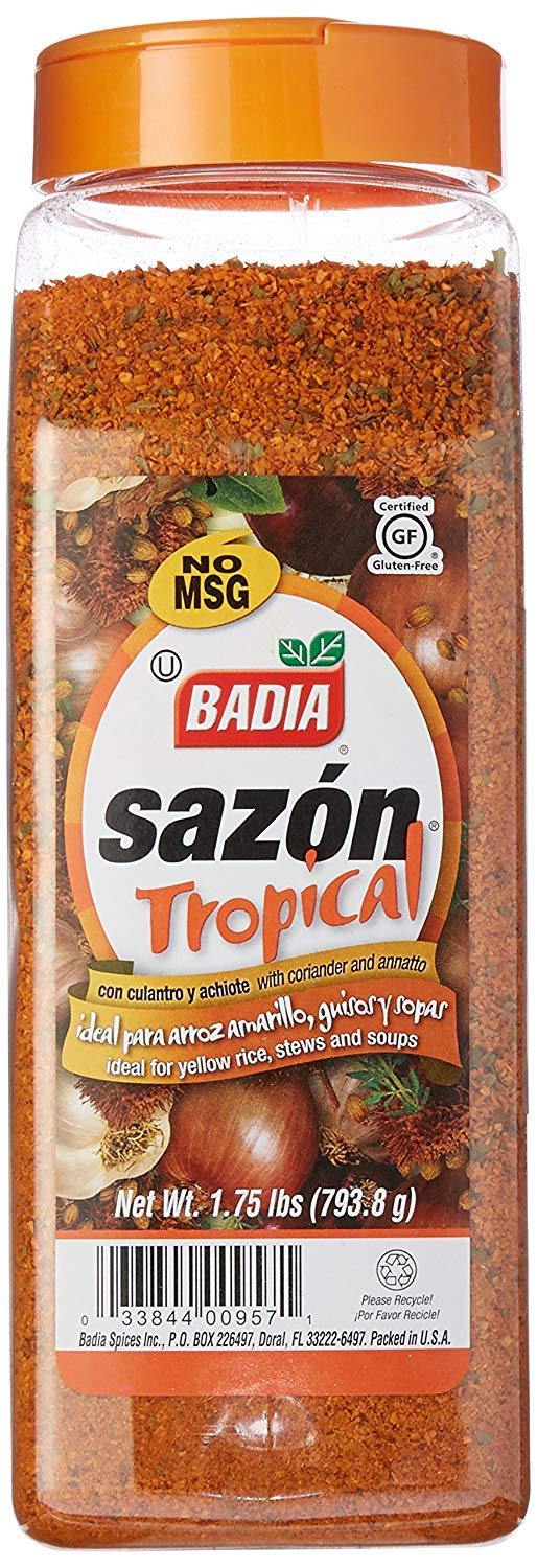 Badia Sazon Tropical with Coriander and Annatto (Amber) 793.8g (1.75 lbs) - Ideal for Yellow Rice, Stews and Soups