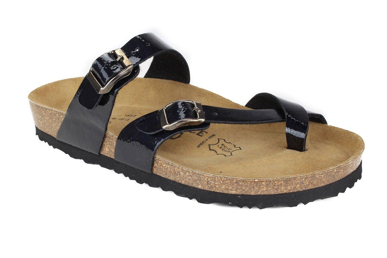 JOE N JOYCE Women Cork Sandals Milano Slippers B073FN36JP 41 EU (10 M US Women/8 M US Men)|Dark Blue Softbedded