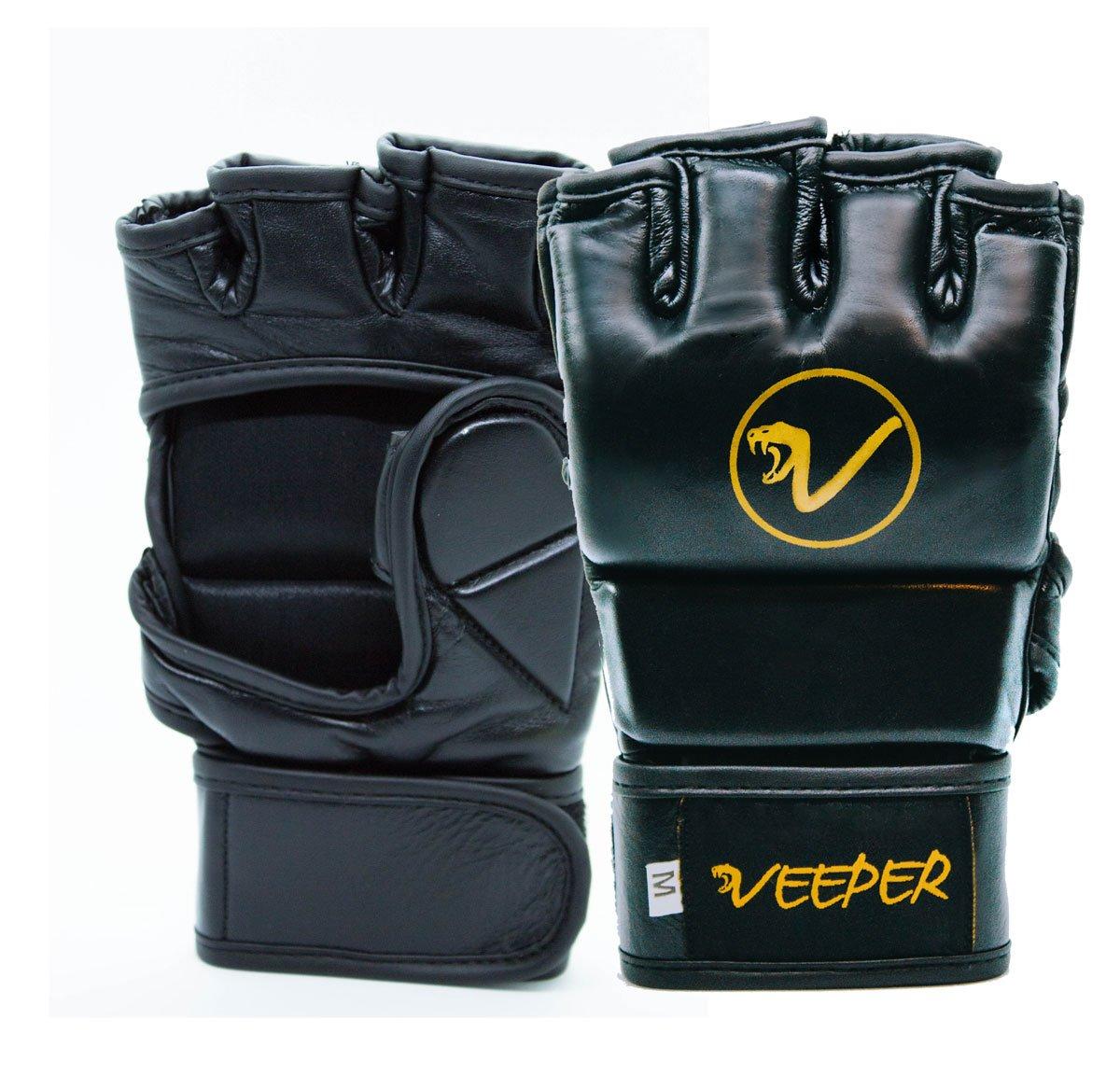 VEEPER® One MMA Handschuhe (L) 4 OZ - Premium MMA Boxhandschuhe Echtleder Grappling Sandsackhandschuhe Ballhandschuhe