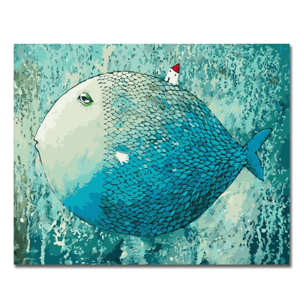 Rihe DIY Oil Painting Paint By Numbers Kits with Brushes Acrylics Painting Kits on Canvas for Adults Kids Beginner - Parrot 16x28 Inch(Wooden framed)