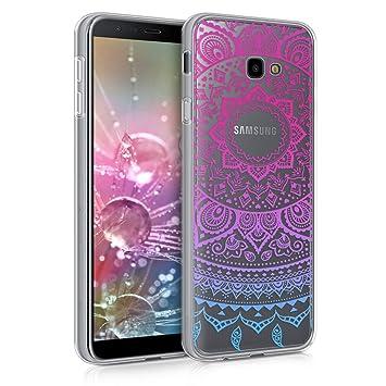 kwmobile Funda para Samsung Galaxy J4+ / J4 Plus DUOS - Carcasa de TPU para móvil y diseño de Sol hindú en Azul/Rosa Fucsia/Transparente
