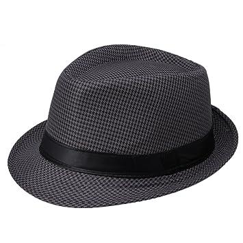 EOZY Gorro Sol sombrero De Jazz Playa Gorra Para Mujer Hombre Enrejado Negro 2d6b2d8f597