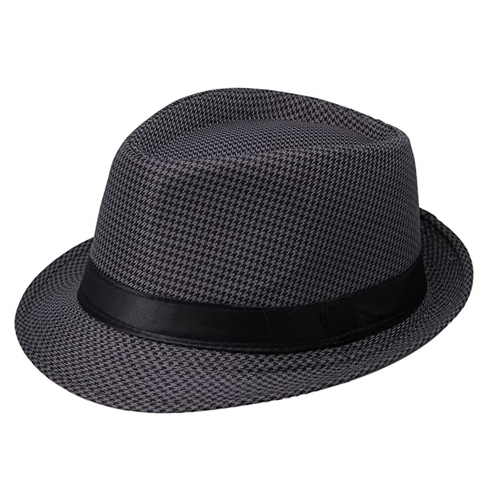 e3a3752ff6d4 La Vogue Houndstooth Fedora Trilby Hat Sun Jazz Cap Dark Grey  Amazon.co.uk   Clothing