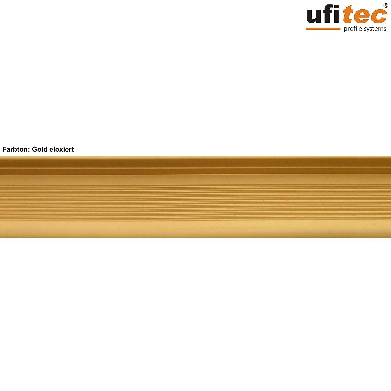 Treppenkantenprofil 100 cm lang, Gold f/ür Belagsh/öhen von 7-15 mm viele Farben lieferbar ufitec Profilsystem f/ür Parkett- und Laminatb/öden