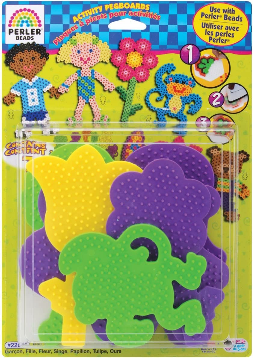 Perler 22645 Fuse Bead Pegboards 7-Pack-Boy//Girl//Bear//Monkey//Butterfly//2 Flowers