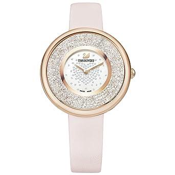 Amazon.com  Swarovski Crystalline Pure Pink Leather Ladies Watch ... bf855adf132