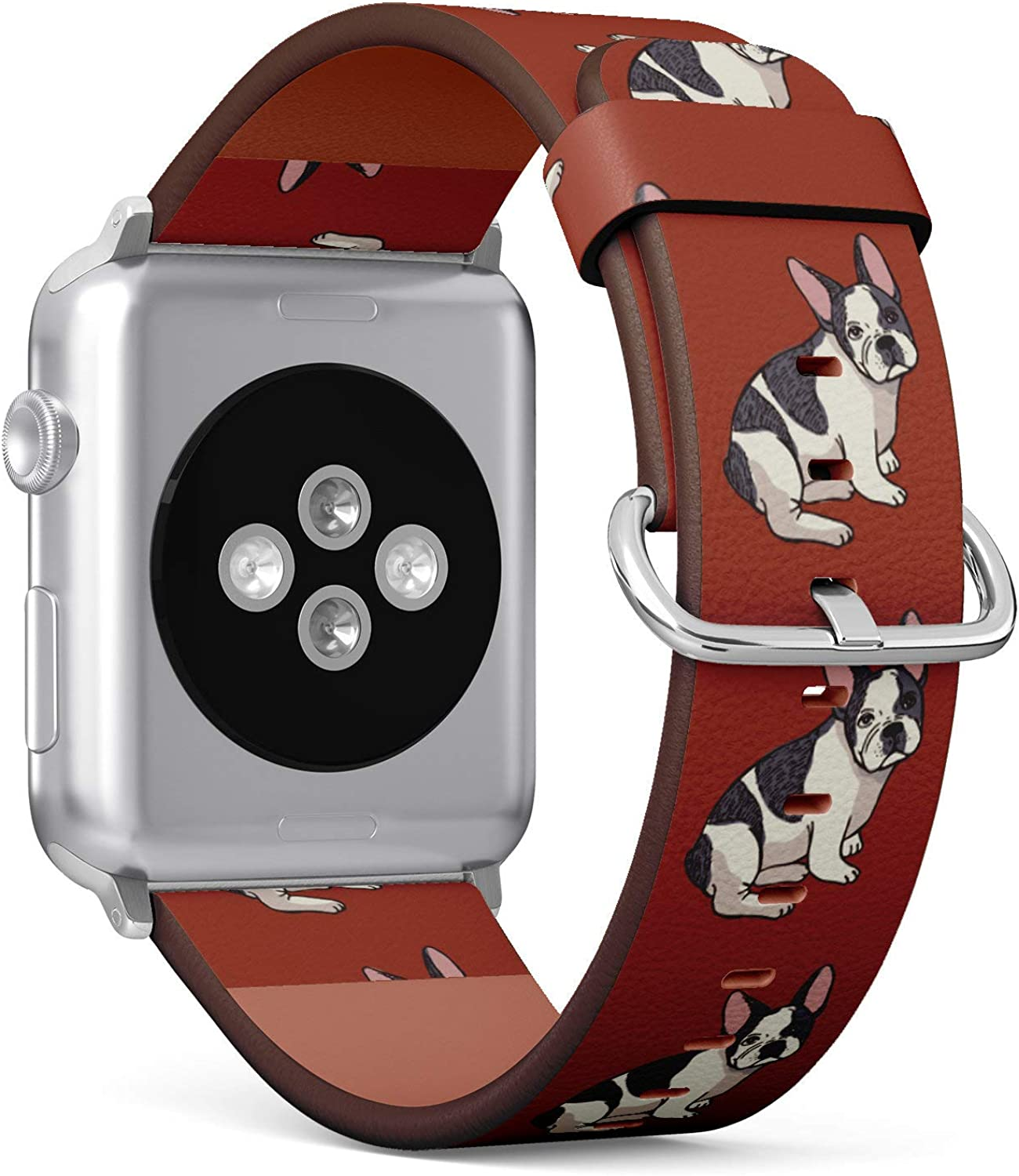 (Adorbale Boston Terrier) Patterned Leather Wristband Strap for Apple Watch Series 4/3/2/1 gen,Replacement for iWatch 38mm / 40mm Bands